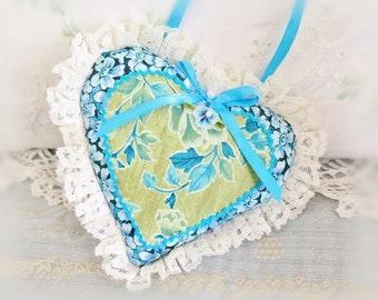 Heart Ornament 6 inch  Ruffled Heart, Aqua Teal Olive Green, Heart Sachet, Folk Art, Handmade CharlotteStyle Decorative Folk Art