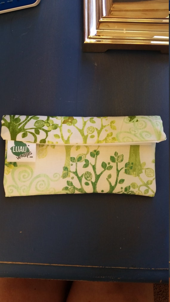 Luau Wrap Organic Cotton Tree Print Lunch Sandwich Snack Bag Moisture Proof, Reusable, Washable-  Small