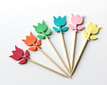 Colorful Tulip Cupcake Toppers, Flower Party Theme, Food Picks, Baby Shower, Spring Party