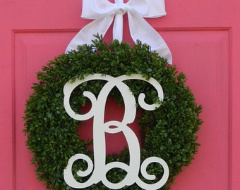Fun Summer Wreath - Monogram Wreath - Boxwood - 8 Colors -All Season Wreath - Mothers Day Gift