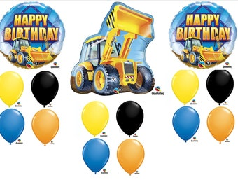 15pc Construction Front Loader Balloons Set Birthday Party Decorations Favors Supersized Centerpiece