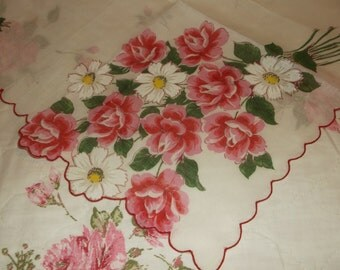 Beautiful Pink Rose  Large Handkerchief Ladies Hankie Cottage Chic