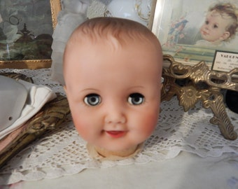 Vintage Soft Plastic Doll Head, Blinking Blue Eyes, Made in USA