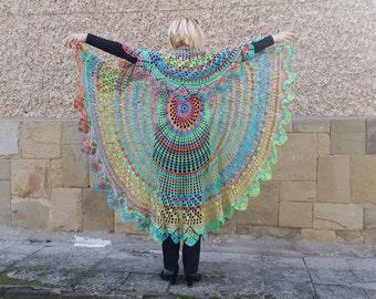 Crochet Bohemian Colorful Vest, Festival Vest, Bohemian Long Vest, Boho Style Vest, Hippie Bolero, Circular Vest, Mandala Vest, Gypsy Shrug
