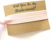 Hair Tie Bridesmaid Gift - Will you be my Bridesmaid Gift - Hair Tie Favor - Bridesmaid Proposal - Bridal Party Gift - Pink Hair Tie