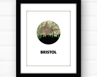 Bristol Map | England Print | Bristol England | Bristol England map print | Bristol skyline | city skyline print | map art