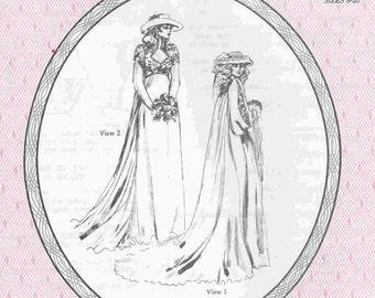 Vintage Bridal Elegance Pattern, Winter Wedding Dress, watteau train
