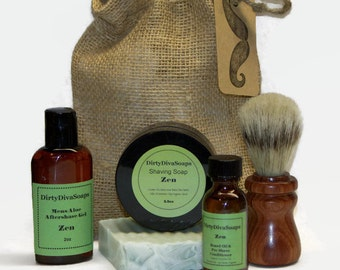 Large Mens Shaving Gift Set with Shea butter Soap, Shave Soap, Pre Shave Oil and Aftershave in Zen