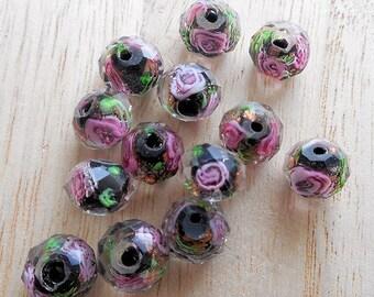 10pcs-black,golden,pink-Artistic Lampwork Glass rondelle beads, for bracelet, necklace,earrings