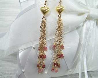 Golden Hearts and Pink Spinel Bead Earrings 354E