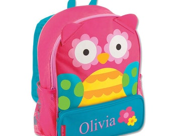 Personalized Owl Backpack [back to school, school bag, book bag, backpack, owl, embroidered, pink, blue, school, elementary] -gfyE000267