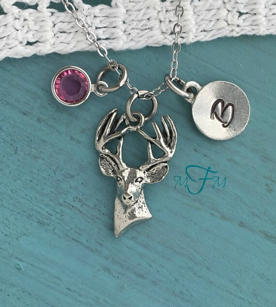 deer charm necklace personalized necklace silver pewter deer