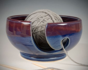 Yarn / Knitting Bowl - cobalt blue with deep red flowing glaze - Wheel Thrown Stoneware by Seiz Pottery