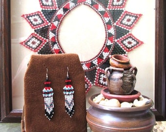 Native American Beaded Pottery Earrings - Blue & Red Free Shipping