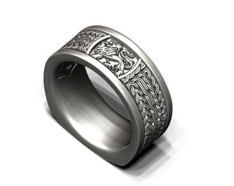 Lion Celtic knot band in sterling silver