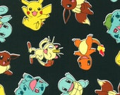 RARE Cotton fabric by the yard, Pokemon Pikachu toss on black, Kaufman fabric, AOP-15114-190 Jet, NOT laminated