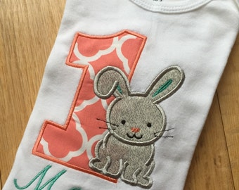 1st birthday bunny rabbit bodysuit with name, you choose the colors you'd like
