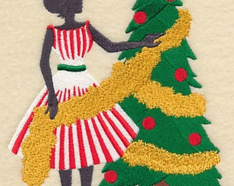 Christmas Fashionista Trimming the Tree Embroidered Flour Sack Hand/Dish Towel