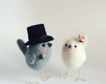 Needle Felted Bird Wedding Cake Toppers