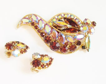 Vintage Aurora Pink Amber Rhinestone Brooch Earrings signed Continental