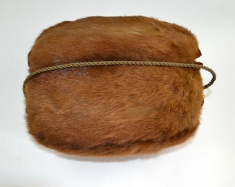 Vintage Reddish Brown Mink Real Fur Muff, Hand Warmer, Winter Weather