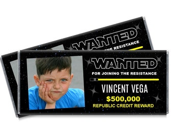 Wanted Resistance Photo Candy Bar Wrappers - Resistance Birthday Party Favors - Set of 12
