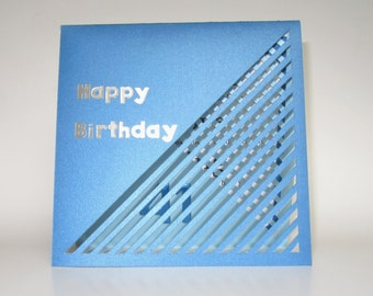 HAPPY BIRTHDAY Card w/3 Sections ORIGINaL Design Opens Flat Handmade Personalized CUSTOM ORDeR in Libra Colors of White & Blue  OOaK
