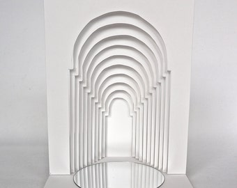 GATES to the FUTURE 3D Pop up GRADUATION CARd Origamic Architecture Home Décor In White With Reflections in a Mirror. One of a Kind