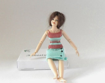 Dollhouse Miniature Vest Top, Skirt 1:12 Scale Outfit for Heidi Ott Lady Doll, Pale Turquoise & Coral Brown Crochet Cotton by Miniaturejoy