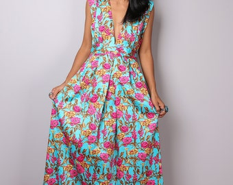 Maxi Dress  - Floral Dress - Boho Blue and Pink Dress : Oriental Secrets Collection