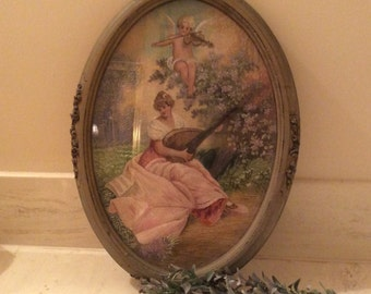 Vintage Carved Wooden  Framed Embroidered Woman and Angel Playing Instruments in Countryside,  Wood Framed Needlework Picture,