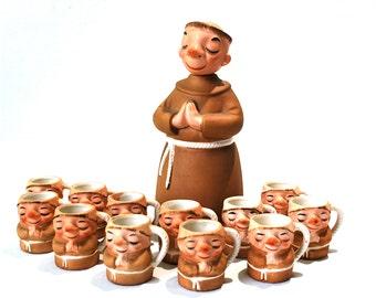Lefton Monk/Friar Ceramic Decanter and Mugs 13 Pieces