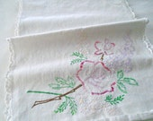 Thick Cotton Rose Runner / Hand Embroidered Table Runner / Embroidered Roses / White Cotton / Dresser Scarf /