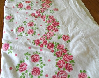 Vintage Cotton Pink Rose Sheet / Ruby Red Roses / Like New / Twin Flat Sheet / Cannon Monticello Sheet / Pink Rose Bedding / Cottage Country