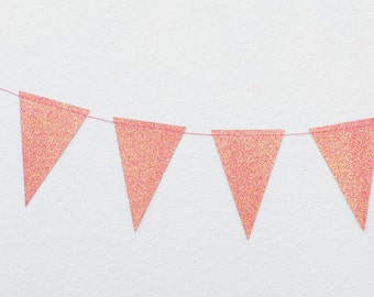 Pink Glitter (Gold Accents) / Mini Pennant Garland - 8 feet with 32 Pennants