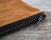 Repurposed Butterscotch Suede Zippered Pouch
