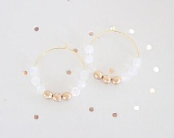 Beaded Earrings, Beaded Hoop Earrings, Large Hoop Earrings, Clouded Clear and Gold Faceted Bead Earrings