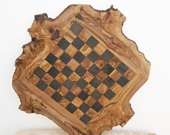 Dad gift, Grandad Gift, Grandpa Gift, Monogrammed Olive Wood Chess Board, Wooden Chess Set Game