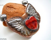Handmade, Mixed Metalwork, Southwestern, Boho, Cowgirl, Spiny Oyster Heart, Fine Silver Angel Wing Necklace