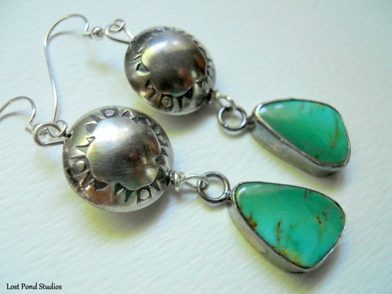 Handmade Southwestern Sterling Silver Green Kingman Arizona Turquoise Hand Stamped Sterling Silver Dangle Earrings