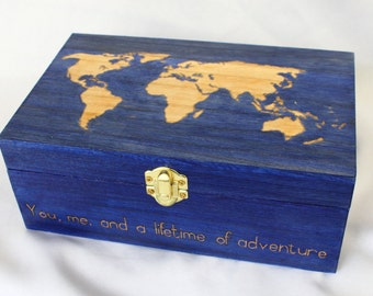 World Map Wooden Box w/customizable inscription