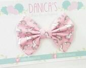 New { the Katie } rainbows & unicorns bow. Cute baby bow, baby girl headband, pink baby headband