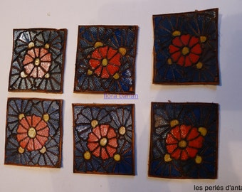 6 leather squares 1930