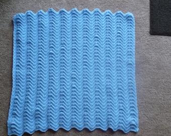 Baby Blue Crocheted Blanket