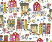 Flower Pedals - Houses Organic Cotton by Carolyn Gavin of Ecojot from Windham Fabric