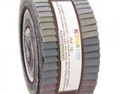 Kona Cotton Solids Roll-Up Gray Area- 40 pieces 2.5 x 44 inch Strips from Robert Kaufman