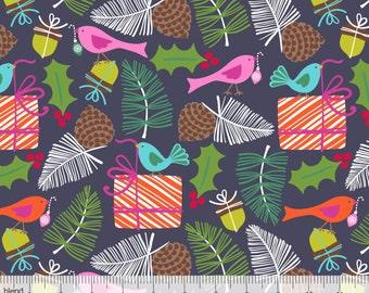 Treelicious - Mistletoe Navy from Blend Fabrics