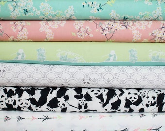 Pandalicious from Art Gallery Fabric Bundle - Fat Quarter Bundle - 6 Fat Quarter pieces (B385)