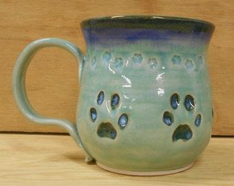 Cat Paw Print Porcelain Mug - Food, Dishwasher, Microwave Safe