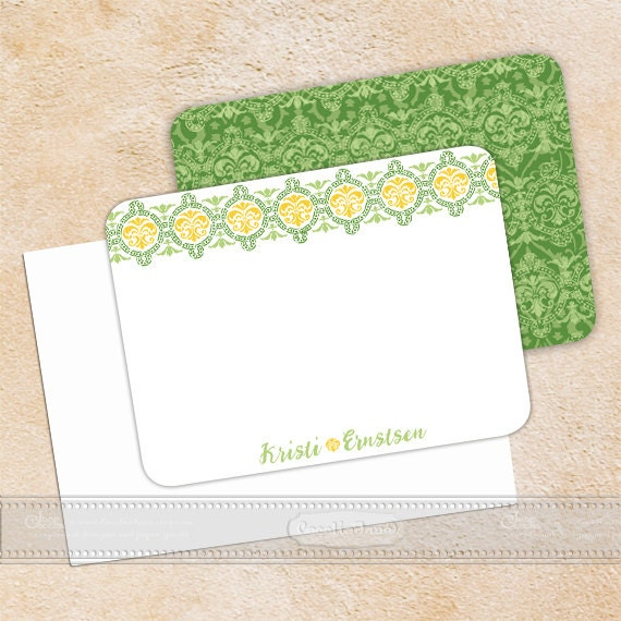 personalized notecards - set of 16 - notecard set, thank you cards, girlfriend gift, personalized stationery, green notecard set, NS127